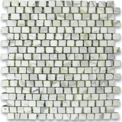 "Stone Center Corp - Calacatta Gold Marble Hand Clipped Mosaic Tile 3/4x3/4 Honed - Calacatta gold marble 3/4"" x 3/4"" handclipped / broken pattern pieces mounted on 12"" x 12"" sturdy mesh tile sheet"