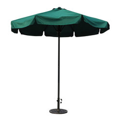 Walker Edison - Walker Edison 2.5 M Umbrella in Dark Green - Walker Edison - Patio Umbrellas - OMU2MGR -  Enjoy your patio or deck in the cool shade provided by this eight-foot outdoor umbrella. This attractive umbrella is UV protected water resistant and supported by a powder-coated charcoal gray steel frame. The no-hassle setup is a bonus as the umbrella unfolds and collapses effortlessly at the touch of a button. Features: