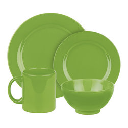 Waechtersbach - Fun Factory II Place Setting, Green Apple, 16 Piece - With our well-known Fun Factory collection you get fun and joy into your home. We offer high-quality dishes for every occasion. Whether you prefer a quick breakfast or an extensive dinner; with our collection you can always find the right shape. Whether green or blue; black or white our wide range of colors offer something for everyone.
