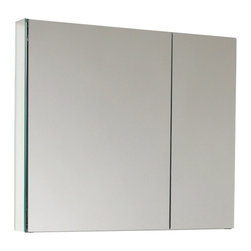 Fresca - Fresca Medium Bathroom Medicine Cabinet w/Mirrors - This medium sized medicine cabinet features mirrors everywhere. the edges of the medicine cabinet have mirrors and so does the back of the inside and the back of each of the doors. The inside features two tempered glass shelves.