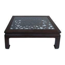 Golden Lotus - Chinese Rectangular Carved Panel Glass Coffee Table - This is a rectangular shape elm wood oriental leg coffee table decorated with old carving Chinese panel.