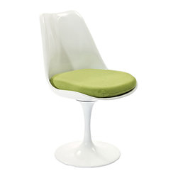 Tulip Chair in Green - Inspired by a 1956 design, this chair is a modern kitchen's dream. Perfect for a kitchen nook with a small table, pull up two of these for breakfast and coffee in true modern kitchen style.