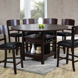 Conner 5-Piece Dinette Set - This unique dining set is finished in a beautiful espresso color and features a square table with sides that fold up to make it round. This set also boasts a storage base with built-in wine rack, a Lazy Susan in the center of the table, and cushioned chairs upholstered in a leather-like fabric for added comfort. This gorgeous dinette set will bring functional style to any home.