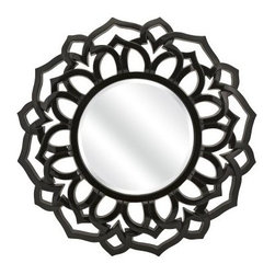 IMAX Essentials Black Wall Mirror - 33H x 33W in. - Black hole sunburst, won't you come and define round IMAX Essentials Black Wall Mirror - 33H x 33W in. frame design? Yes. This mirror classic black hue and sunburst design radiate quirky style and India-inspired elegance fit for any space. Add dramatic appeal to room styles from modern to traditional.About IMAXWhat began as a small company importing copper flower containers in 1984 by Al and Faye Bulak has developed into one of the top U.S. import companies serving the At Home market today. IMAX now provides home and garden accessories imported from twelve countries around the world, housed in a 500,000 square foot distribution center. Additional sourcing, product development and showroom facilities in the USA, India and China make IMAX a true global source. They're dedicated to providing products designed to meet your needs. This is achieved through a design and product development team that pushes creativity, taste and fashion trends - layering styles, periods, textures, and regions of the world - to create a visually delightful and meaningful environment. At IMAX, they believe style, integrity, and great design can make living easier.