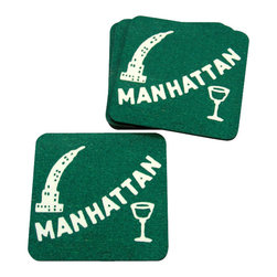 Cool Culinaria - Manhattan Coasters (Set of 4) From 1930s Cocktail Menu, Green - Artwork adapted from original 1930s Cold Spring NY Menu Art. Set of four cork-back coasters (green or blue) with a wipe clean hard wearing gloss-finish surface. Made in USA.