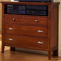 Vaughan Bassett - 3-Drawer Media Cabinet w Component Shelf in C - 3 Drawers. 1 Component shelf. Cherry finish. Constructed from hardwood solids and veneers. Assembly required. 43 in. W x 18 in. D x 43 in. H