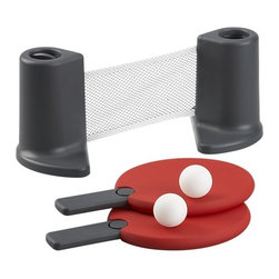 Table Tennis - When the dining is done, let the game begin. Portable tennis net spans up to 48 inches for play, then coils up in weighted side posts for storage. Soft-touch paddles feature retractable handles to store with net and balls in the accompanying mesh bag.Two 100% polystyrene ping pong balls100% plastic racquetsTerylene net, polypropylene rimPlastic and metal net standMade in China