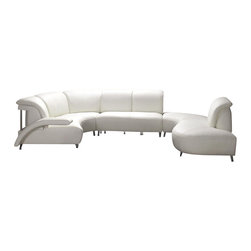 VIG Furniture - Colombo - Modern White Leather Sectional Sofa - Stylish and unique sectional sofa fit for contemporary living rooms, offices and lounges. Upholstery is made from quality leather material for long-lasting use. Modern features include extra padding for body and back support and extraordinary sofa framework.