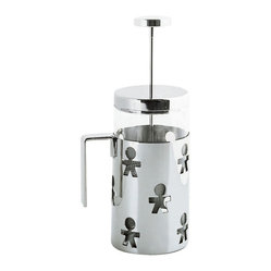 "Alessi - Alessi ""Girotondo"" Press - Press the button and a whole waitstaff is ready to serve you coffee. This French press coffee maker features a heat-resistant glass canister surrounded by high-grade, stainless steel polished to a mirror-like finish. It's a step above the daily grind."
