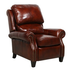 Barcalounger Churchill II Leather Recliner with Nailheads - Gorgeous in reddish brown, the Barcalounger Churchill II Leather Recliner with Nailheadswill enhance any living room decor. It's built on a hardwood frame for strength and durability, and the frame is fully padded to protect against wear and damage. The attached recline mechanism requires only minimal pressure, so you can recline without struggling, and the adjustable top and lower back cushions mean you get customized comfort. The seat is filled with pocket springs, down, and memory foam to conform your your body; this added comfort will make this recliner a family favorite - if you can get Dad out of it! Additional Features: Personally-adjustable upper and lower back cushions Comfort foam cushion for maximum comfort Pocket springs in seat cushion Recline mechanism needs only 2.5 lbs. of pressure Frame is padded to prevent wear and damage About BarcaloungerBarcalounger has been committed to detail and quality since they became an industry leader in the 1940's. Barcalounger has always offered luxurious comfort, perfect balance, and fashion forward designs with chairs that just happen to recline. Barcalounger engineers know their recliners will probably get more use than any other piece of upholstered furniture in your home. That's why their standards of quality are more demanding and levels of excellence higher than other upholstery manufacturers. Over the last 70 years Barcalounger has become a household name in reclining chairs. Today's Barcalounger recliner is not your father's (or grandfather's) chair. They have built on their heritage and stellar reputation to create recliners for every lifestyle. From plush and cushy to sleek and sophisticated, there is a Barcalounger recliner to match every person and decor. Barcalounger – because you're comfortable with the best.