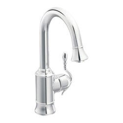 Moen - Moen S6208C Chrome High Arc Pulldown Single Mount Bar Faucet Single Lever Handle - The Woodmere collection's flowing design provides an uncluttered appearance to your countertop. The exclusive patented pause button easily suspends water flow from the wand.