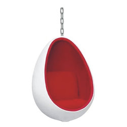 "Egg Hanging Chair - This chair is perfect for any mod house! It's so edgy and minimalistic and it has the ""it"" factor. A statement piece for sure!"