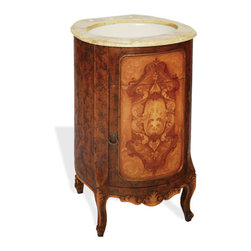 Round Travertine Vanity, Fresco Brown Distressed with Scroll Medallion - Round Travertine Vanity, Fresco Brown Distressed with Scroll Medallion