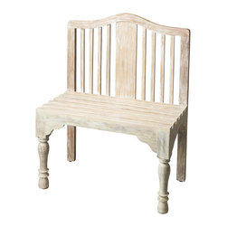 Butler Furniture - Roseland Solid Wood Bench - Reminiscent of a gardeners bench, this beautifully proportioned bench features a slatted back and seat with meticulously turned front legs. Crafted from solid wood it is hand-painted in a whimsical antique finish.