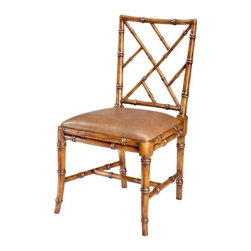"""Sarreid Ltd - Pair of Bamboo Side Chairs - A charming solid walnut """"Chinese Chippendale"""" style faux bamboo dining or conservatory chair is gracefully supported on splayed front legs. The """"H"""" stretcher unites the legs. Seating comfort is ensured with upholstered tan leather. These handsome chairs have an old world walnut finish. Sold in multiples of 2. (SAR) 20"""" wide x 23"""" deep x 36"""" high, seat 19"""" high"""