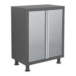 Newage Products - NewAge Products Bold Diamond Plate Base Cabinet - Stylish diamond-plate steel doors are what give our Bold Diamond Plate Series its unique edge. Each unit with our signature chrome trim designed to give you a distinct look of sophistication.