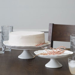 dBO Pomegranate Ceramic Dessert Tier - I love how these cake stands are slightly crooked. Their wonkiness makes them perfectly imperfect. And a beautiful way to display sweet treats and finger foods.