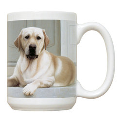 425-Yellow Lab-Porch Mug - 15 oz. Ceramic Mug. Dishwasher and microwave safe It has a large handle that's easy to hold.  Makes a great gift!