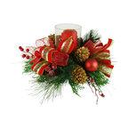 TableCenterpieces.net - Faux Floral Christmas Candle Centerpiece - Details on this Christmas Centerpiece