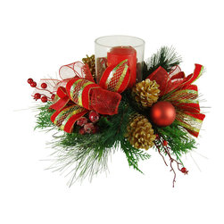 TableCenterpieces.net - Faux Floral Christmas Candle Centerpiece - Details on this Christmas Centerpiece