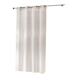 "Evideco - Woven Sheer Grommet Curtain Panels Helios, Linen - Ecru - ""The understated elegance of this woven sheer window curtain panel HELIOS is made of 84% polyester, 9% linen and 7% viscose and provides a luxurious, decorator's look to any room and easily hang with grommets. 55""""W x 95''L and sold individually, the gentle"""