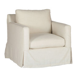 Gabby - Gabby Furniture Hayes Swivel Chair - Decor with a story, Gabby's line of antique reproduction furniture retains the spirit of the European pieces that inspired it. Offering a functional twist on a classic design, the Hayes swivel chair pivots to provide versatile comfort. Perfect for a transitional living room, this white seat's high arm height and soft, loose cushions provide cozy lounging. Available in a variety of fabrics and finishes. Not available in leather.