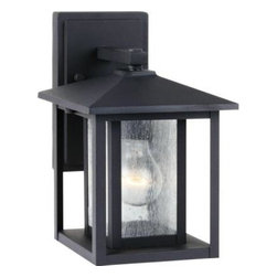 Sea Gull Lighting - Sea Gull Lighting Outdoor Lighting. Hunnington Wall-Mount 1-Light Outdoor Black - Shop for Lighting & Fans at The Home Depot. The Sea Gull Lighting Hunnington one light outdoor wall fixture in black creates a warm and inviting welcome presentation for your home's exterior. A bit of Shaker minimalism mixed with Arts and Crafts styling defines the transitional Hunnington Outdoor Collection. Equally at home in the city or the country, this timeless style will enhance the appearance of a home's entrance and illuminate outdoor spaces nicely. The sleek profile and muted finish options complement a wide range of residential architecture.