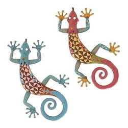 "Benzara - Gecko Assorted with Bright Colors - Set of 2 - Gecko Assorted with Bright Colors - Set of 2. Add vibrancy to your home with elegance and attitude with this 24""H metal Gecko Assorted with Bright Colors (Set of 2). It comes with a following dimensions 24""W x 14""D x 3""H, 24""W x 14""D x 3""H."