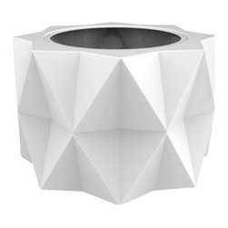 Buntry Planter, White - Take your container garden to the next level! The Buntry Planter's unique, striking design is sure to make a statement. Crafted from a non-toxic, food grade polymer-based resin,these contemporary planters will never rot, mildew, split, cup or warp. This material offers an unparalleled combination of uniformity, durability and beauty.Whether exposed to salt water the rough and tumble of everyday wear and tear of home or commercial use, the planter's gel coat maintains a beautiful finish no matter how tough the conditions get.