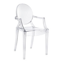 East End Imports - Philippe Starck Style Ghost Arm Chair - Combine artistic endeavors into a unified vision of harmony and grace with the ethereal Ghost Chair. Allow bursts of creative energy to reach every aspect of your contemporary living space as this masterpiece reinvents your surroundings. Surprisingly sturdy and durable, the Philippe Starck Style Ghost Arm Chair is appropriate for any room or outdoor setting. Pure perception awaits, as shining moments of brilliance turn visual vacuums into new realms of transcendence.