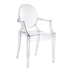 East End Imports - Philippe Starck Style Ghost Arm Chair Clear - Combine artistic endeavors into a unified vision of harmony and grace with the ethereal Ghost Chair. Allow bursts of creative energy to reach every aspect of your contemporary living space as this masterpiece reinvents your surroundings. Surprisingly sturdy and durable, the Philippe Stack Style Ghost Arm Chair is appropriate for any room or outdoor setting. Pure perception awaits, as shining moments of brilliance turn visual vacuums into new realms of transcendence.