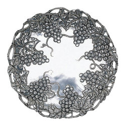 "Arthur Court - Grape 12"" Plate - Silvery grapes and winding vines encircle this gorgeous shiny plate, adding a sculptural element that will delight your guests. Pair with the coordinating serving trays, bowls and accessories for the perfect festive serving collection."