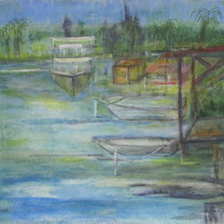 """Puerto Andin (Original) by Edna Santiago - On the North side of Puerto Rico is the Estuary """"Torrecilla Baja"""" a lagoon with pelicans and fishermen and boats of all sizes."""