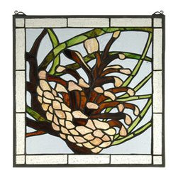 "Meyda - 12""W X 12""H Square Pinecone Stained Glass Window - This handsome square pine cone window is an originalmeyda tiffany's design. Handcrafted utilizing the copper foil construction process and 235 pieces ofrootbeer granite sky blue, grass green, and cleartextured stained art glass encased in a solid brassframe, each window is a unique creation. Mountingbracket and jack chain included."
