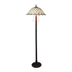 Tiffany Jadestone Fishscale Floor Lamp - The most significant reasons why Tiffany style lamps are so favored by a large number of people can attribute to its magnificent craftsmanship and stylish design. This floor lamp features a handcrafted shade made of stained glass with peacock design. Perfect for placing in your living room to enhance your home decor.