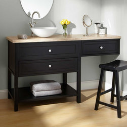 "60"" Taren Black Vessel Sink Vanity with Makeup Area - Outfitted with an area for styling hair or applying makeup, the 60"" Taren Black Vanity transforms the morning routine into a beautiful ritual."