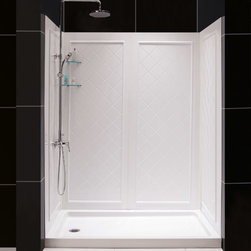 Dreamline - Dreamline QWALL-5 Shower Backwalls Kit - Complete your shower makeover with a QWALL shower backwalls panel. DreamLine shower doors can shave years off the look of any bathroom. Pair your new shower doors with a QWALL shower backwalls to create a dramatic transformation. Combine an optional DreamLine shower base with the back wall panels to finish the project. Panels can be trimmed up to 4 inches in width and up to 10 inches in depths to perfectly fit your shower space. The versatile backwall panels are made of durable and attractive Acrylic/ABS materials and are easy to install. With a tasteful tile pattern, the panels are a cinch to maintain with no grout to clean. Streamline your bathroom renovation and choose a QWALL shower backwalls panel to complement your DreamLine shower doors.