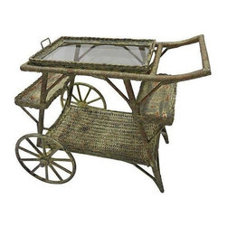 "Pre-owned Wicker Rolling Tea Cart - Plan an elaborate tea party and wow your guests with this vintage tea or bar cart. On wheels, its easy  to move around. The tray on top is detachable. The wheels measure 14"" in diameter."