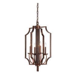 Brian Thomas - Brian Thomas 3-5207-4-327 Saitama Transitional Foyer Light - The Saitama lantern by Savoy House is a brilliant presentation of mixed materials. Natural dark wood is beautifully accented by guilded bronze metal accents. Designed by Brian Thomas, this collection is tomorrow's classic.