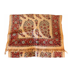 Linen Paisley Table Runner - Lovely vintage paisley table runner in a burgundy pattern on a tea stain woven linen. Pair with solid linen napkins for a stunning table setting.