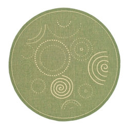 """Safavieh - Indoor/Outdoor Courtyard Round 5'3"""" Round Olive - Natural Area Rug - The Courtyard area rug Collection offers an affordable assortment of Indoor/Outdoor stylings. Courtyard features a blend of natural Olive - Natural color. Machine Made of Polypropylene the Courtyard Collection is an intriguing compliment to any decor."""