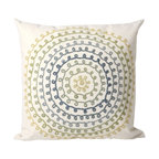 """Trans-Ocean Inc - Ombre Threads Cool 20"""" Square Indoor Outdoor Pillow - The highly detailed painterly effect is achieved by Liora Mannes patented Lamontage process which combines hand crafted art with cutting edge technology. These pillows are made with 100% polyester microfiber for an extra soft hand, and a 100% Polyester Insert. Liora Manne's pillows are suitable for Indoors or Outdoors, are antimicrobial, have a removable cover with a zipper closure for easy-care, and are handwashable.; Material: 100% Polyester; Primary Color: Cream;  Secondary Colors: blue, green, yellow; Pattern: Ombre Threads; Dimensions: 20 inches length x 20 inches width; Construction: Hand Made; Care Instructions: Hand wash with mild detergent. Air dry flat. Do not use a hard bristle brush."""