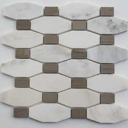 "Octave Pattern Asian Statuary With Athens Gray Dot - STELLA PATTERN ASIAN STATUARY WITH ATHENS GRAY DOT TILES 3/5"" X 1.5"" DOT: 1 1/5"" X 3/4"" These hand-made window patterns are made from stone mosaics, each piece fits into the next like a perfect puzzle. Its stunning design and unique pattern of rectangle and oblong octagons will bring warmth and a natural ambience to your home. The mesh backing not only simplifies installation, it also allows the tiles to be separated which adds to their design flexibility. Chip Size: 3/5"" x 1.5"" Dot: 1 1/5"" x 3/4"" Color: Asian Statuary with Athens Gray Dot Material: Asian Statuary and Athens Gray Stone Finish: Polish Sold by the Sheet - each sheet measures 10"" x 10"" (0.7 sq. ft.); 8 rows per sheet Thickness: 3/8"""