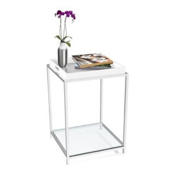 Convenience Concepts Palm Beach Square White Metal and Glass End Table with Remo - The sleek style of the Convenience Concepts Palm Beach Square White Metal and Glass End Table with Removable Tray is brought to life with its chrome-plated, stainless steel frame. Including a serving tray in white, this table is the perfect party companion. It has a pair of tempered-glass shelves which provide plenty of storage.About Convenience ConceptsIf you're looking for forward-thinking designs at affordable prices, you can count on Convenience Concepts. Sensible contemporary furniture that's easy and ready to assemble, all of the products created by Convenience Concepts are quality-driven and will add flair to your living spaces.