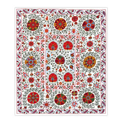 """Handmade Modern Suzani - L1272 - This 60"""" x 69"""" new Suzani will spice up your interior decor whether you use it as a wall hanging or a table covering. Suzanis add a touch of sophistication to many styles of interiors, from traditional to contemporary, to boho - chic decor."""