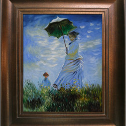 """overstockArt.com - Monet - Madame Monet and her Son with Da Vinci - Aged Auburn Finish Oil Painting - 20"""" x 24"""" Oil Painting On Canvas Hand painted oil reproduction of a famous Monet painting, Madame Monet and her Son. The original masterpiece was created in 1875. Today it has been carefully recreated detail-by-detail, color-by-color to near perfection. While Monet successfully captured life's reality in many of his works, his aim was to analyze the ever-changing nature of color and light. Known as the classic Impressionist, one can not help but have deep admiration for his talent. This work of art has the same emotions and beauty as the original. Why not grace your home with this reproduced masterpiece? It is sure to bring many admirers! Frame Description: Da Vinci - Aged Auburn Finish Framed painting size (not including frame): Classic 20"""" x 24"""". Framed Oil reproduction of an original painting by Claude Monet"""