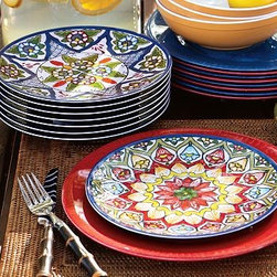 "Talavera Melamine Salad Plates, Set of 4 - These centuries-old traditional Mexican pottery designs give our salad plates the look and feel of authentic handmade pieces. 8"" diameter Made of unbreakable melamine. Vibrant colors and lively designs add style to outdoor meals and parties. Set of 4, each with a slightly different pattern. Top rack dishwasher-safe. Catalog / Internet only."