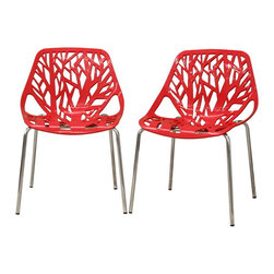 Wholesale Interiors - Birch Sapling Red Plastic Modern Dining Chairs, Set of 2 - This forest chair lends a modern touch of the beauty of a small grove of trees to your home. The intricate cut-out design is ideal around a minimalist dining table or simply as a standalone chair in an entryway or extra room. It is constructed with a sturdy watermelon red molded plastic seat atop a steel frame with a shiny silver chrome finish. Black non-marking feet finish off the chair. This chair is stackable, and assembly is required.