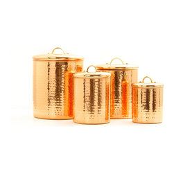 "4 Pc. Déc. Copper ""Hammered"" Canister Set  4Qt., 2Qt., 1½Qt.,1Qt. - With their hammered finish and generous storage capacity, these copper-plated steel canisters are the perfect countertop storage solution.  ""Fresh Seal®"" cover technology keeps stored items fresh and safe. Tarnish-resistant.  1 Qt., 1½ Qt., 2 Qt. & 4 Qt. capacities."
