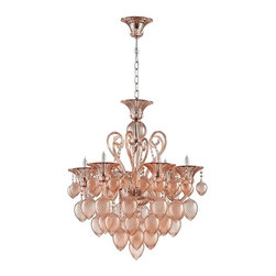 Bella Vetro 6-Light Pale Blush Murano-Style Glass Chandelier - When it comes to decor, nothing is more romantic than a blush Murano glass chandelier.